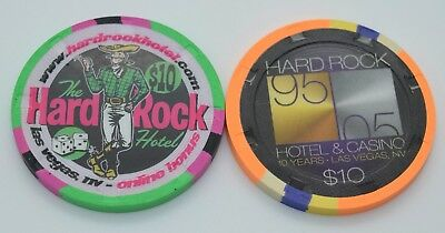 Set of 2 Hard Rock $10 Casino Chips Las Vegas Nevada H&C Paulson FREE SHIPPING