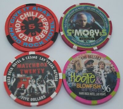 Set of 4 Hard Rock $5 Casino Chip Las Vegas Nevada H&C Paulson Concerts Theme