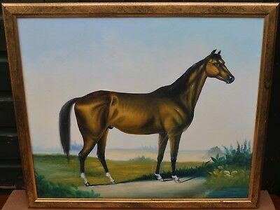 LARGE GILT FRAMED PAINTING ON CANVAS OF HORSE SIGNED has a scrape
