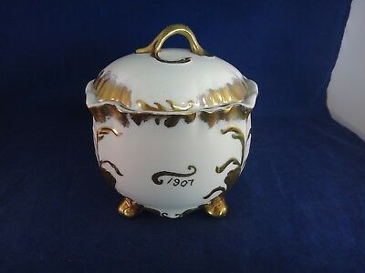 Antique 1907 Porcelain BISCUIT/CRACKER JAR ~GOLD GILT~