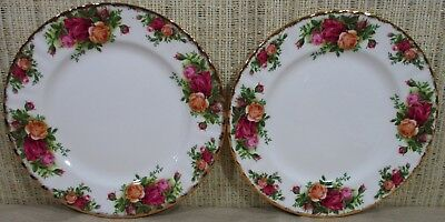 """2X Royal Albert Old Country Roses Set 2 Salad Luncheon Plates 8"""" Made England P1"""