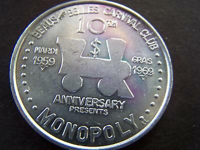 1969 Beaus+Belles MONOPOLY Plain Aluminum Mardi Gras Doubloon-1st Year Issue