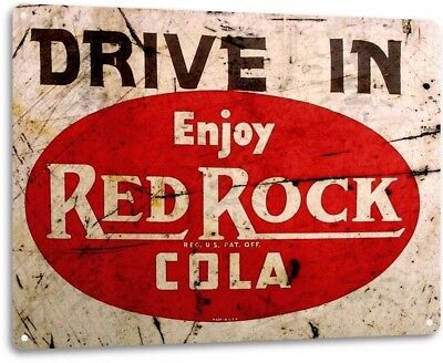 Red Rock Cola Drive In Vintage Retro Tin Metal Sign