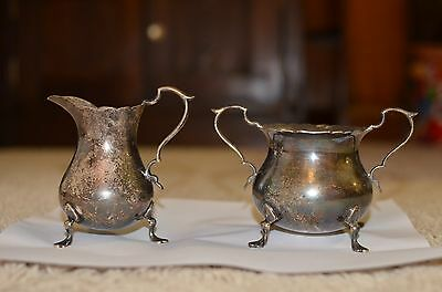 Gorham Sterling Silver Footed Creamer and Sugar Bowl ~ 11.1 ounces