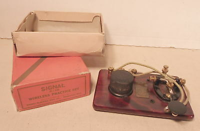 Vintage Signal Electric Mfg Co Telegraph Morse Code Practice Set R-68 w/ Box