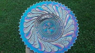 Antique Carnival Glass Plate Round Up Dugan Electric Blue