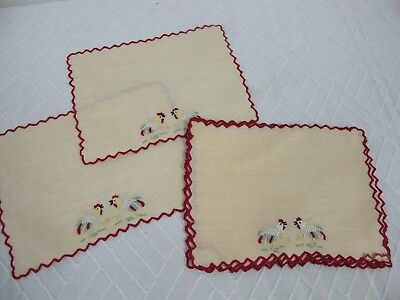 Madeira Portugal Cocktail Napkins  Turkey Chickens Set Of 8 Vintage