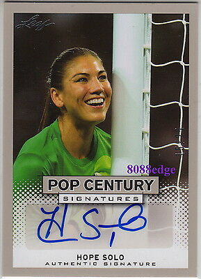 2013 Leaf Pop Century Auto: Hope Solo #15/25 Autograph Team Usa Olympics Gold