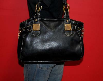 Vintage Gail Labelle Black Leather E/W Tote Satchel Large Bag Purse ITALY