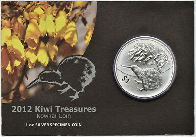 2012 1oz Silver $1 New Zealand Kiwi Treasures Kowhai Coin