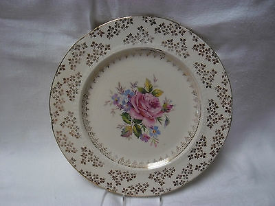 Vintage Pink Rose & Gold Floral All Over Chintz Dinner Plate H & K. Tunstall