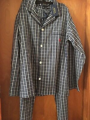 Ralph Lauren Men Sleepwear Polo Pajama Set Lounge Pant Shirt Cotton Medium-NWT