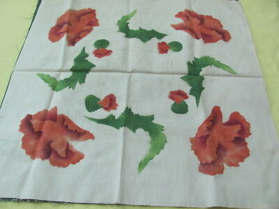 1920's era color printed peony pillow top to embroider and finish