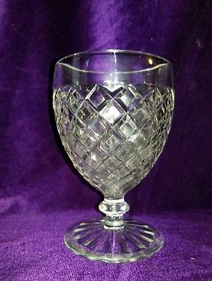 Vintage,Hocking Glass,Waterford or Waffle Pattern,Footed Goblet, Clear, 1938-44
