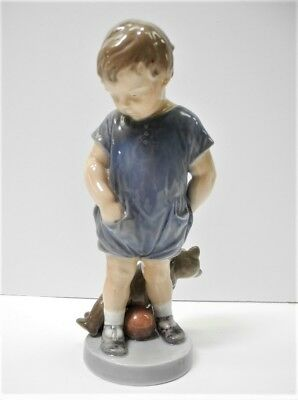 Signed ROYAL COPENHAGEN Denmark Porcelain Boy Holding Teddy Bear Figure #3468