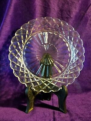 Vintage, Hocking Glass, Waterford or Waffle Pattern, Salad Plate, Clear, 1938-44