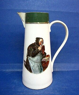 Old Tavern Beer Pitcher - Monk - Avon Faience Pottery Co. Wheeling W. Va.