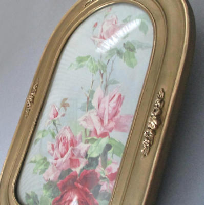 Antique VICTORIAN c1900 GILT Wood Frame ARCH Top Gesso ROSE Swags * KLEIN Roses
