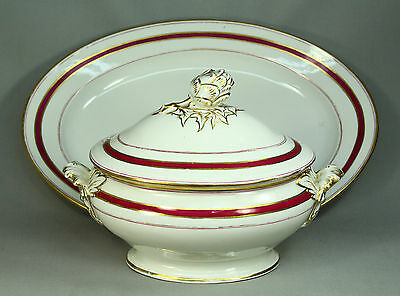 *1800's Old Paris Porcelain Lg Covered Serving Tureen & Platter Artichoke Finial