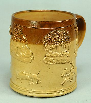 * 1800's Glazed English Stoneware Lg Tankard Handled Mug w Applied Ornamentation