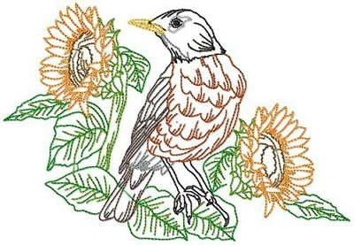 Birds Line Work 14 Machine Embroidery Designs Cd 4 Sizes Included