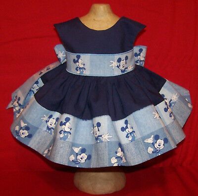 "Mckey Mouse Print Dress for 22"" Saucy Walker or Smilar Dolls"