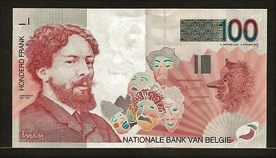 BELGIUM 100 francs no date (1995-2001) P147 AU James Ensor portrait, masks