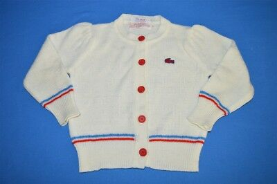 vintage 70s IZOD LACOSTE WHITE RED BLUE STRIPED CARDIGAN ACRYLIC SWEATER 3T
