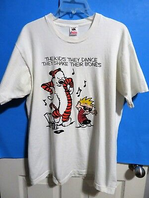 Vintage Calvin and Hobbes The Kids They Dance T-Shirt White Cotton Men's XL