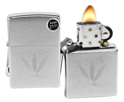 Zippo 29587 Marijuana Leaf Design Brushed Chrome Finish Windproof Lighter New