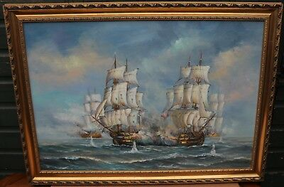 Very Large Quality Gilt Framed Painting On Canvas Of Ships At War Signed