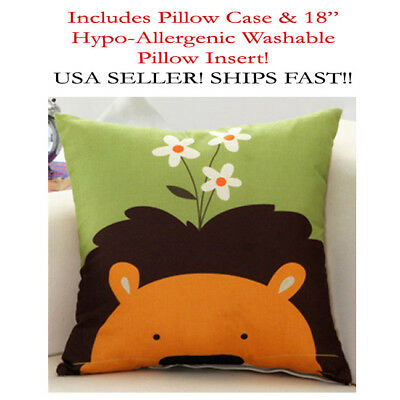 "18x18 18""x18"" Lion Leo Cat Daisy Kids Baby Zippered Throw Pillow Case & Cushion"
