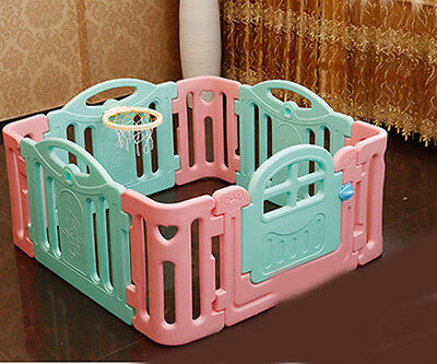 Pink+Blue Toddlers Kids Indoor Baby Steady Playpens Divider Safety Gate 8 Panel.