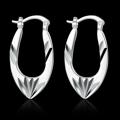 Elegant 925 Stamped Sterling Silver Filled SF Woman Oval Hoop Earrings E-A590