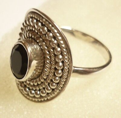 925 Sterling Silver Genuine Faceted Black Onyx Ring Size 7 ~  (N 1/2)