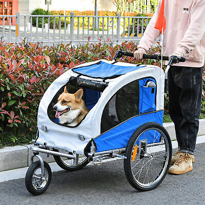 Pawhut 2 In 1 Damping Pet Carrier Dog Bicycle Trailer 360° Rotatable Bike Cargo