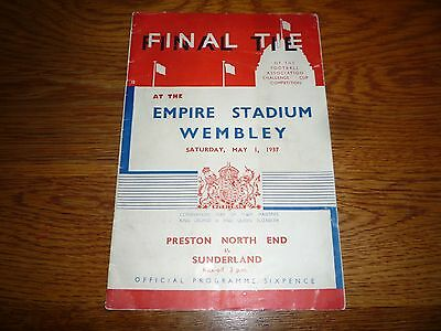 1937 Preston v Sunderland. FA Cup Final Football Programme. In Great Condition