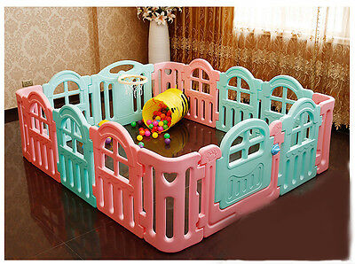 Pink+Blue Toddlers Kids Steady Indoor Baby Playpens Divider Safety Gate 14 Panel