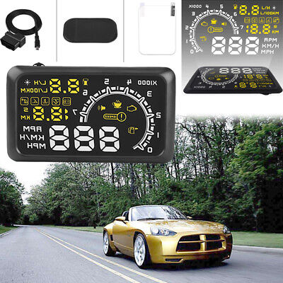 "Auto 5.5"" HUD Head Up Display OBDII EUOBD Parameter Anzeige Speed Spannung Alarm"
