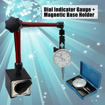 0-10mm Precision Lever Dial Test Indicator Gauge W/ Magnetic Base Holder Stand