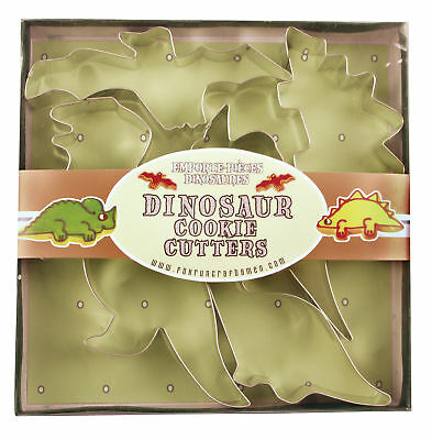 Fox Run Cookie Cutter Set Boxed Dinosaur Shapes Tin Plated Steel 2-3 Inches Long
