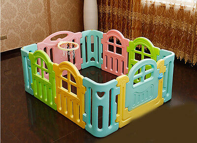 Multicolour Toddlers Kids Indoor Baby Playpens Divider Safety Gate 10 Panel.
