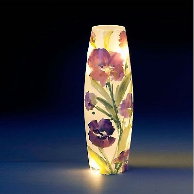 One Large Glass LED Vase with Purple Floral Design