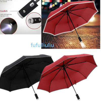 "38""Umbrella With Cover, Strap And Torch Folding Bright LED Light MEN / WOMEN US"