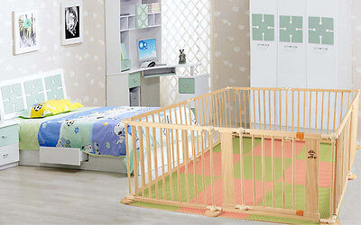 Wood Toddlers Kids Indoor Baby Steady Playpens Divider Safety Gate 8 PCS.