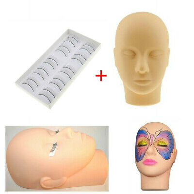 Training Pro Mannequin Flat Head with Practice Lashes for Eyelash Extensions