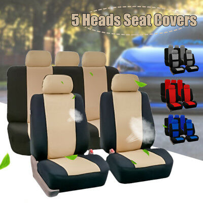 Full Set Car Seat Covers Polyester Fits For Auto Truck SUV 5 Heads 4-Colors