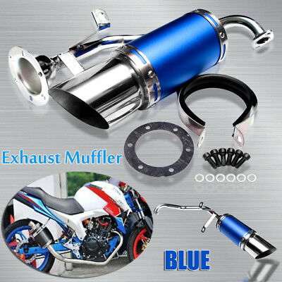 Short Performance Exhaust System Muffler Blue for GY6 50cc 150cc Chinese Scooter