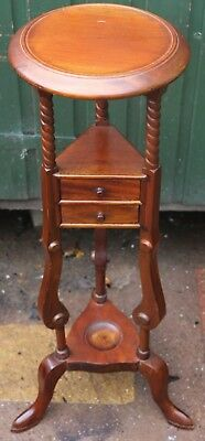 Lovely & Fancy Looking Wooden Plant Or Jardenaire Stand With 2 Small Drawers