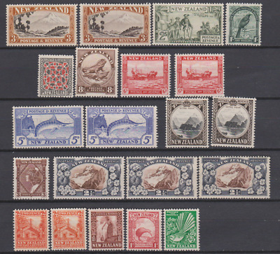 New Zealand 1936 MNH/Mint Mounted Set With Various Shades & Perfs